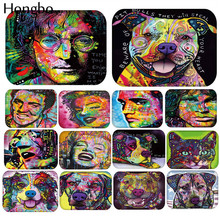 Hongbo New Cartoon Style Lovely Dog Painting Dogs Print Colorful Portrait Carpets Anti-slip Floor Mat Outdoor Rugs Animal Front