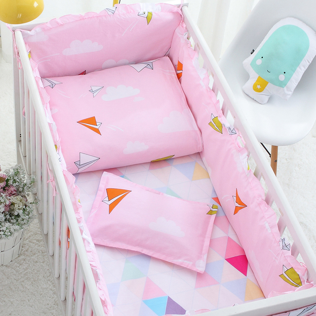 7pcs Color Cotton Baby Crib Bedding Set Baby Quilt Crib Bumper