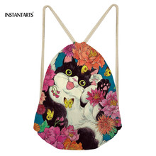 INSTANTARTS 2019 Fashion Bag Cartoon Cats Printing Boys Small Drawstring Bag School Shoulder Backpacks Teen Boys Girls Satchel