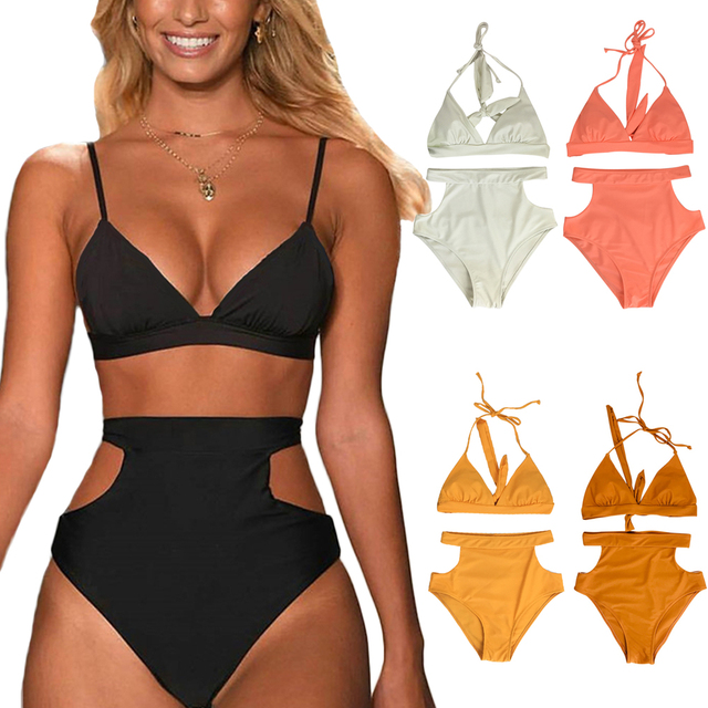 7ce50c0398b Two-Piece Suits Young girls High Waist Bikini Set Halter Straps Cut Out  Side Backless Sexy Women Swimsuit Bathing Suit Swimwear