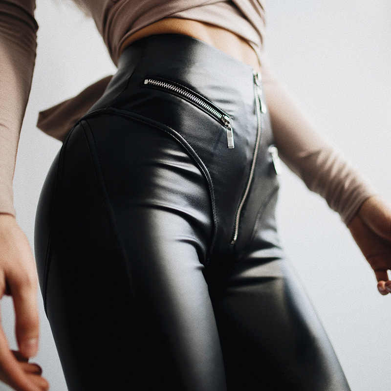 e0368b3683488 Women Sexy leather Leggings with Front Zipper High Waist Push Up Slim Black  Legging Pu Latex