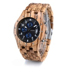 лучшая цена BEWELL Mens Wood Watches Wood Gift Box Quartz Analog Sub-Dial Date Display Chronograph Luminous Hands erkek kol saati W109D