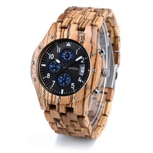BEWELL Mens Wood Watches Wood Gift Box Quartz Analog Sub-Dia