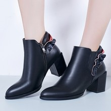 New Fall Winter Casual Shoes Fashion 2016 Black Leather Ankle Boots Chunky Heel Pointed Toe Booties For Womens