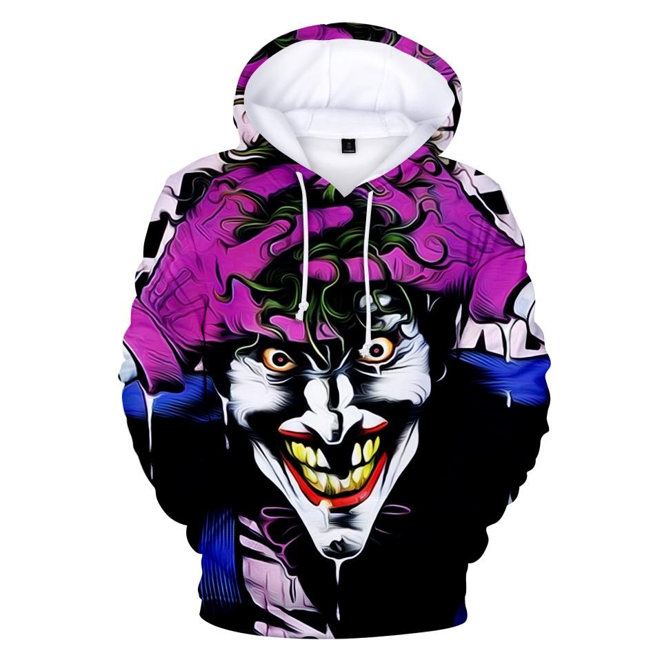 Joker 3D Print Sweatshirt Hoodies Men and women Hip Hop Funny Autumn Street wear Hoodies Sweatshirt For Couples Clothes 2
