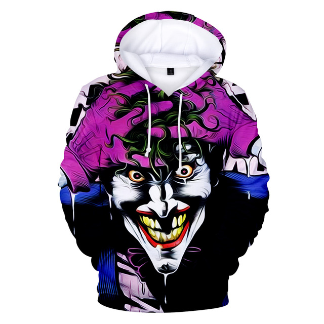 Joker 3D Print Sweatshirt Hoodies Men and women Hip Hop Funny Autumn Street wear Hoodies Sweatshirt For Couples Clothes 2