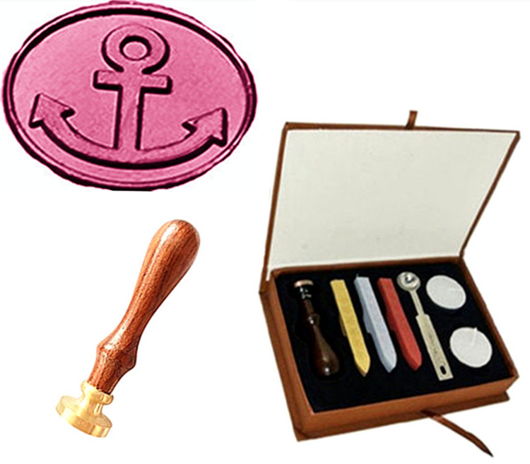 Vintage Anchor Custom Picture Logo Wedding Invitation Wax Seal Sealing Stamp Rosewood Handle Sticks Melting Spoon gift Box Set big copper spoon big large size stamp spoon vintage wooden handle brass spoon for sealing wax stamp wax stick spoon
