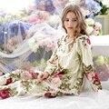 2017 Primavera e outono das mulheres 100% algodão calças de comprimento manga longa pijamas set feminino breve ocasional set lounge sleepwear