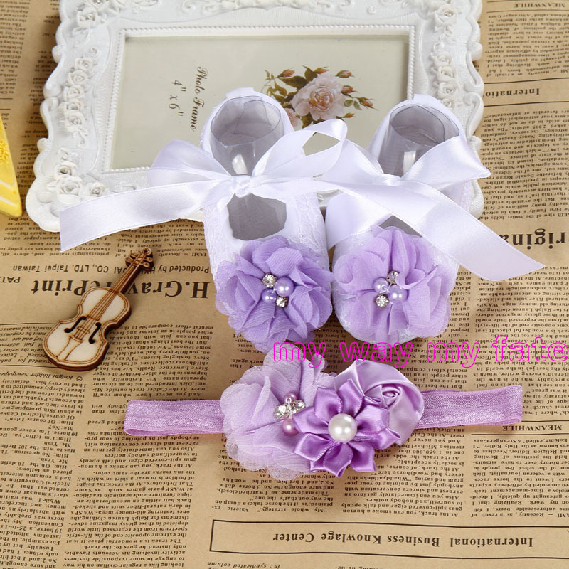 2015 New Girl infant tiara baby shoe purple first walkers;baby ballerina;toddler shoes with pearl boot headbands sets