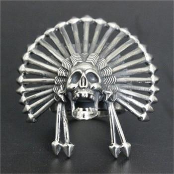 Soporte Dropship Size7-13 gran anillo de cráneo King 316L joyería de acero inoxidable hombres chicos anillo de calavera fantasma