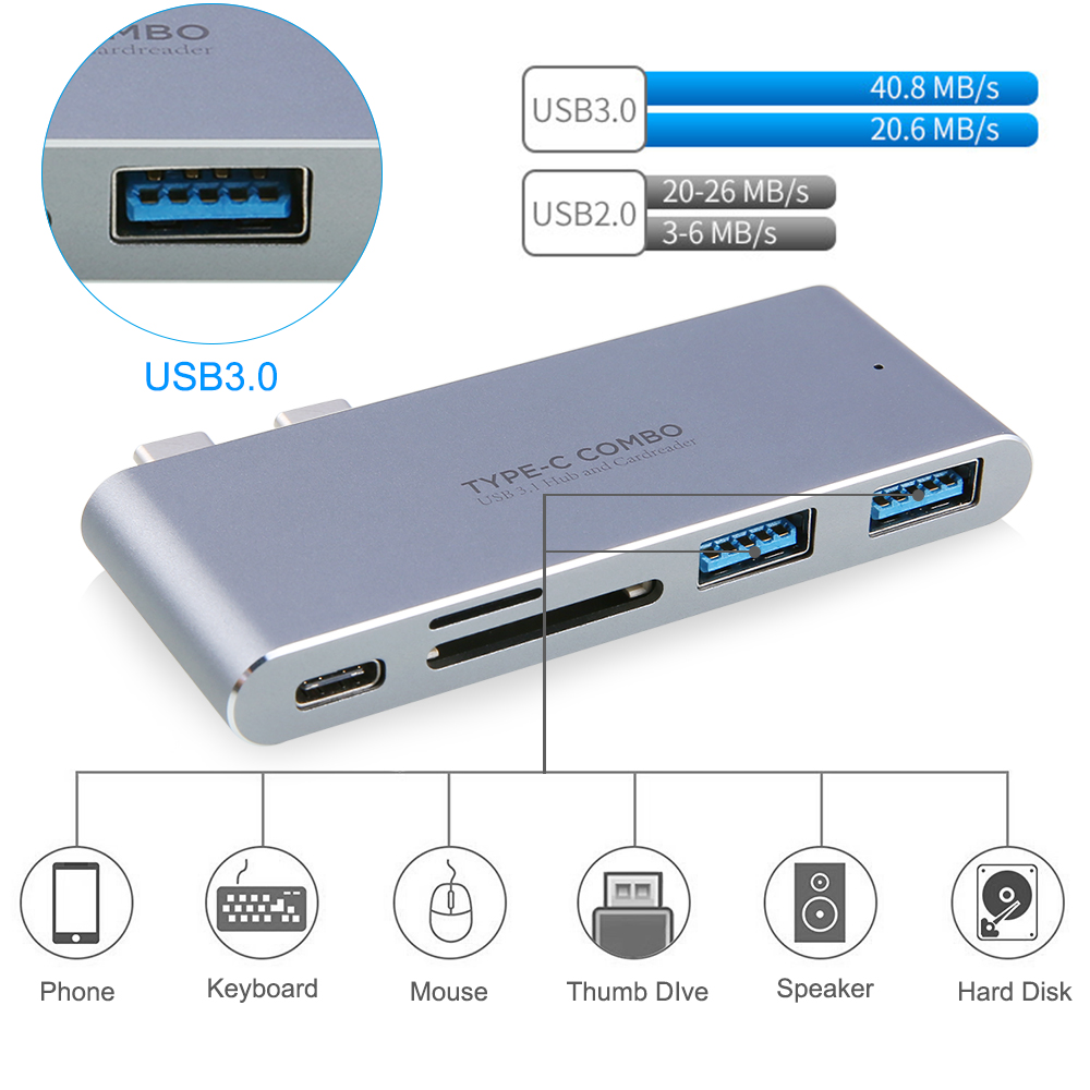 New Arrive Dual USB 3.1 Type-C Interface To 2 USB3.0 Ports + SD / TF Card Reader + Light ning Port for Macbook Pro Free Shipping