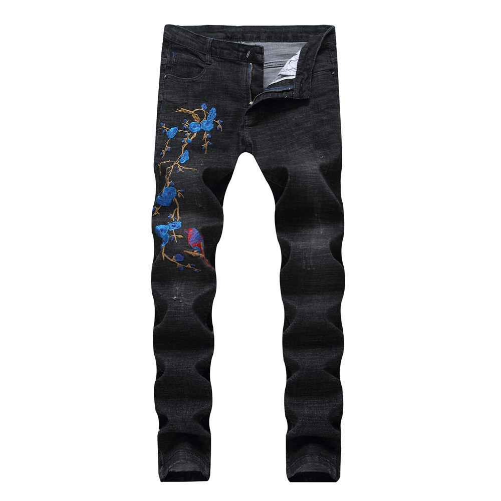 2018 Summer new sale flowers embroidery mens jeans straight fashion casual Chinese style black male denim trousers plus size