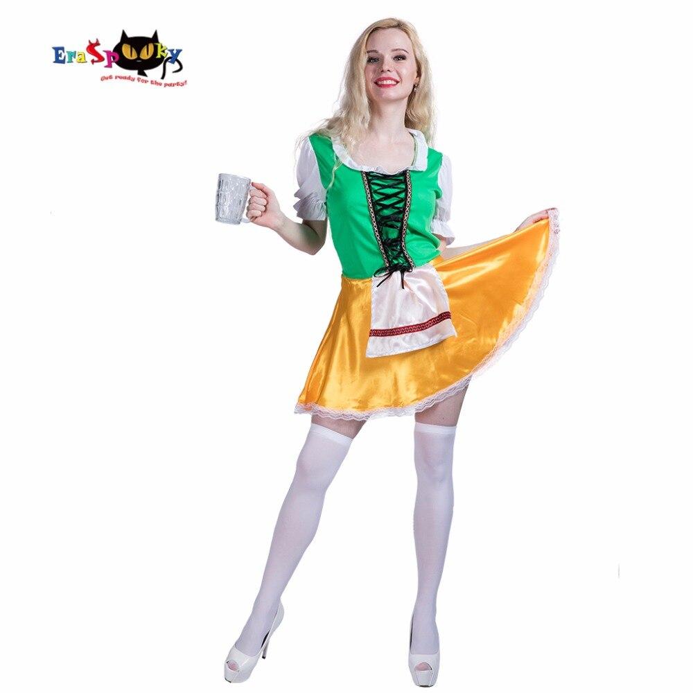 Eraspooky NEW Beer Waitress Dress Women Oktoberfest costumes Adult Beer Festival Fancy Dress Carnival Party Outfit Uniform