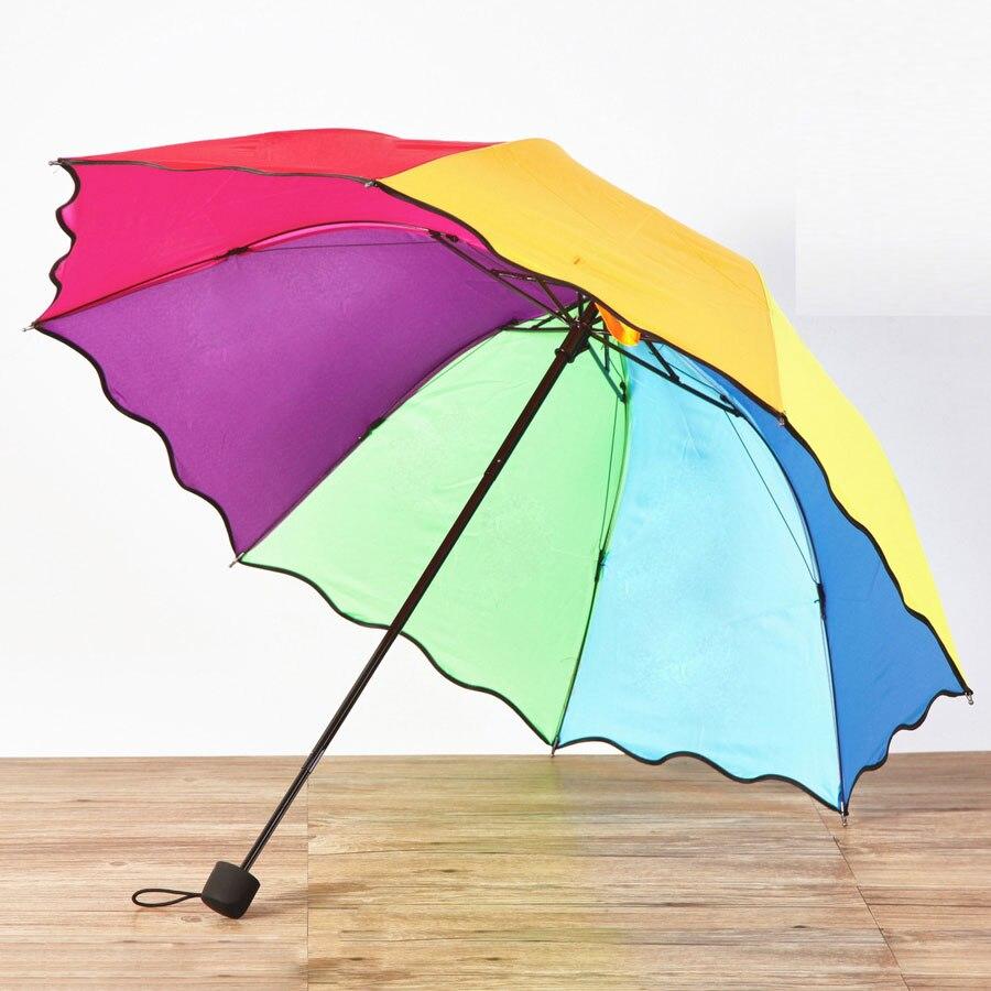 Colorful umbrella rainbow princess style Parapluie Three folding ...