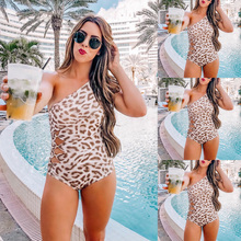 Женские, 1 штука Леопардовый пляжный Монокини-купальник купальный бикини на одно плечо