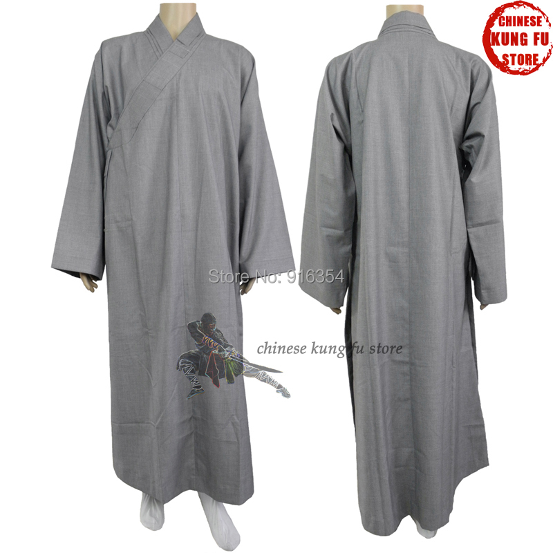 Top Quality 100% Thick Cotton Autumn Winter Shaolin Temple Buddhist Robe Lay Monk Dress Meditation Suit
