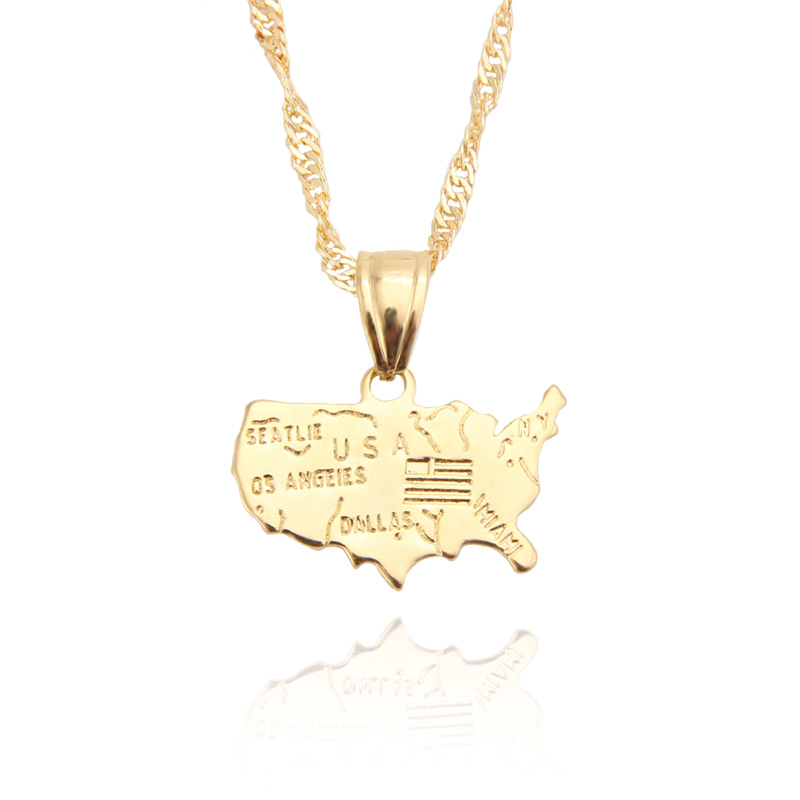 Personalized United States USA Map Pendants Necklace Gold-plated Unisex American Jewelry Gift /items Free shipping
