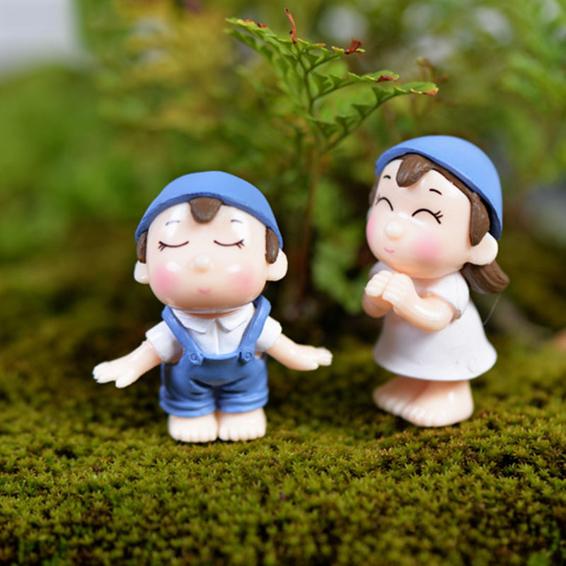 2 Pcs/set Sweety Lovers Couple Chair Figurines Fairy Garden Miniatures DIY Ornament Decoration Crafts Figurines Micro Landscape