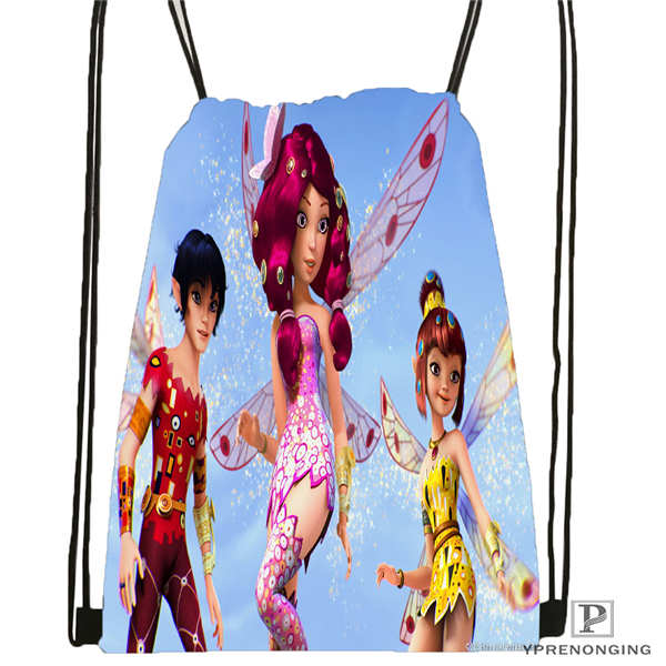 Custom Mia And Cartoon  Drawstring Backpack Bag Cute Daypack Kids Satchel (Black Back) 31x40cm#20180611-02-63
