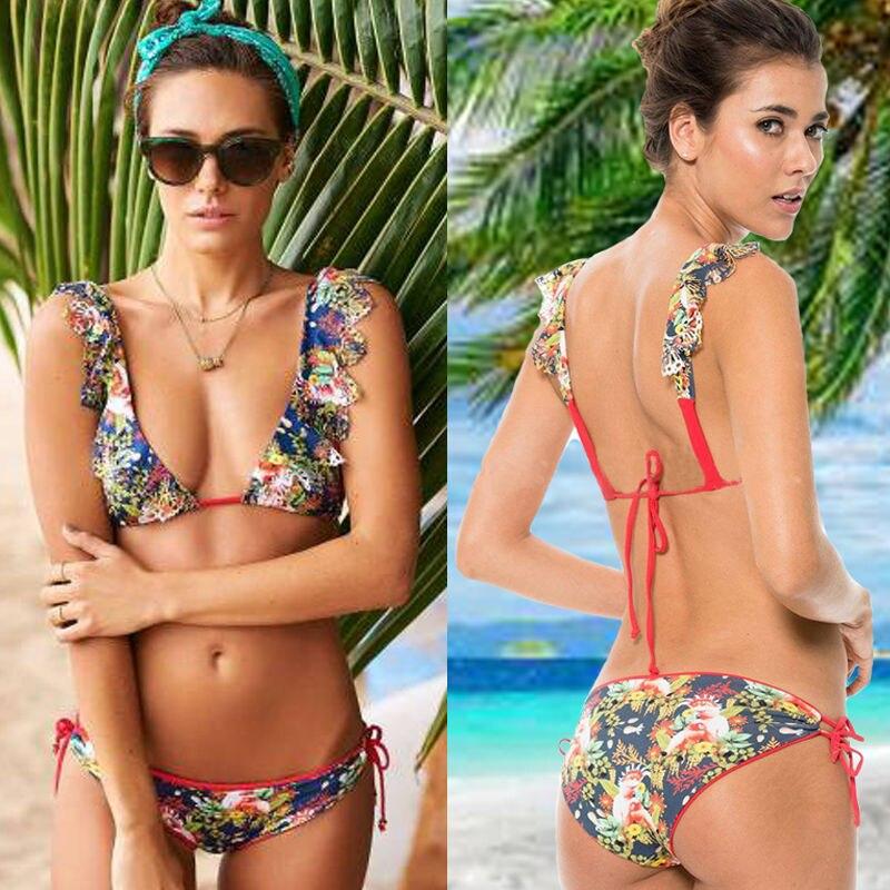 GLANE 2017 UK Hot Design Simple Model Sexy Floral Printing Swimsuit Bikinis Halter Padded Biquinis Feminino Swimwear suck uk