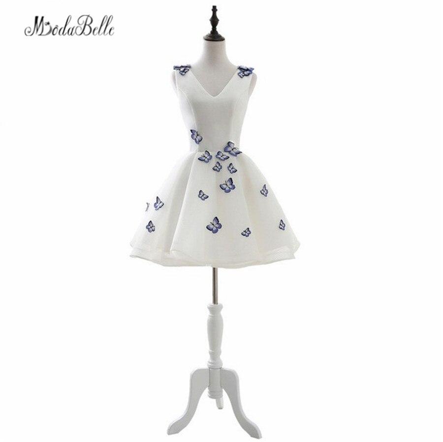 En Stock 2017 mascarade blanche robes courtes robes De bal avec broderie papillon décorations robes De bal robes De Formatura