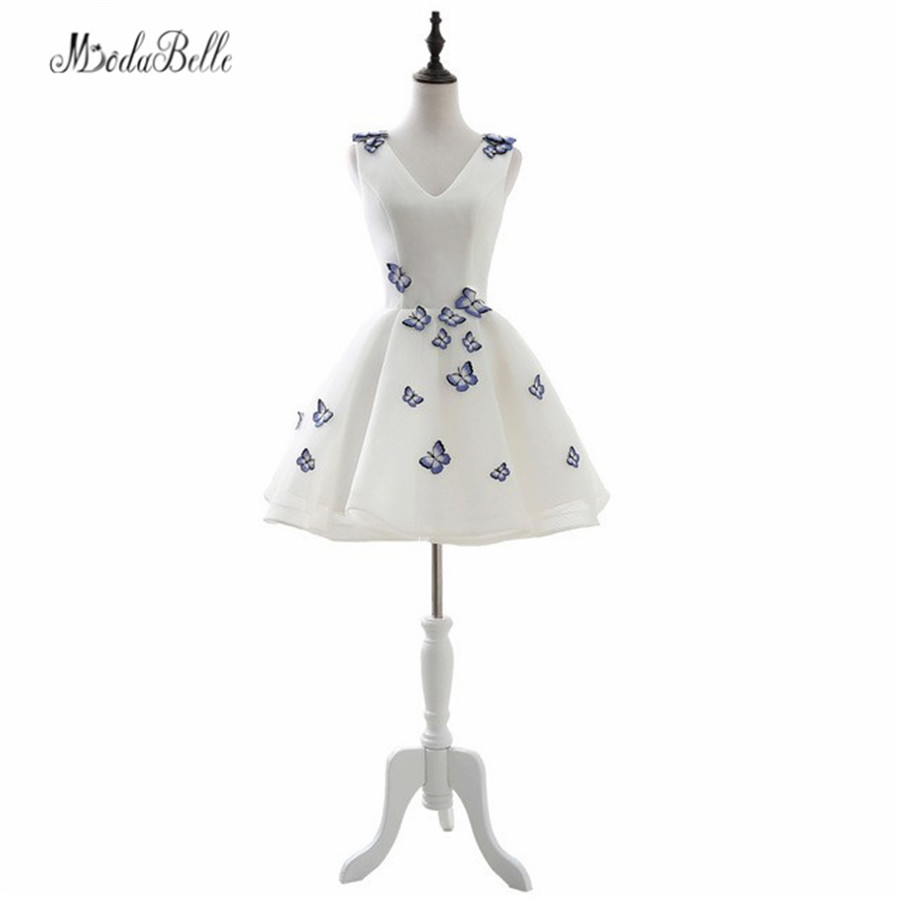 In Stock 2017 White Masquerade   Dresses   Short   Prom     Dresses   With Embroidery Butterfly Decorations   Prom   Gowns Vestidos De Formatura