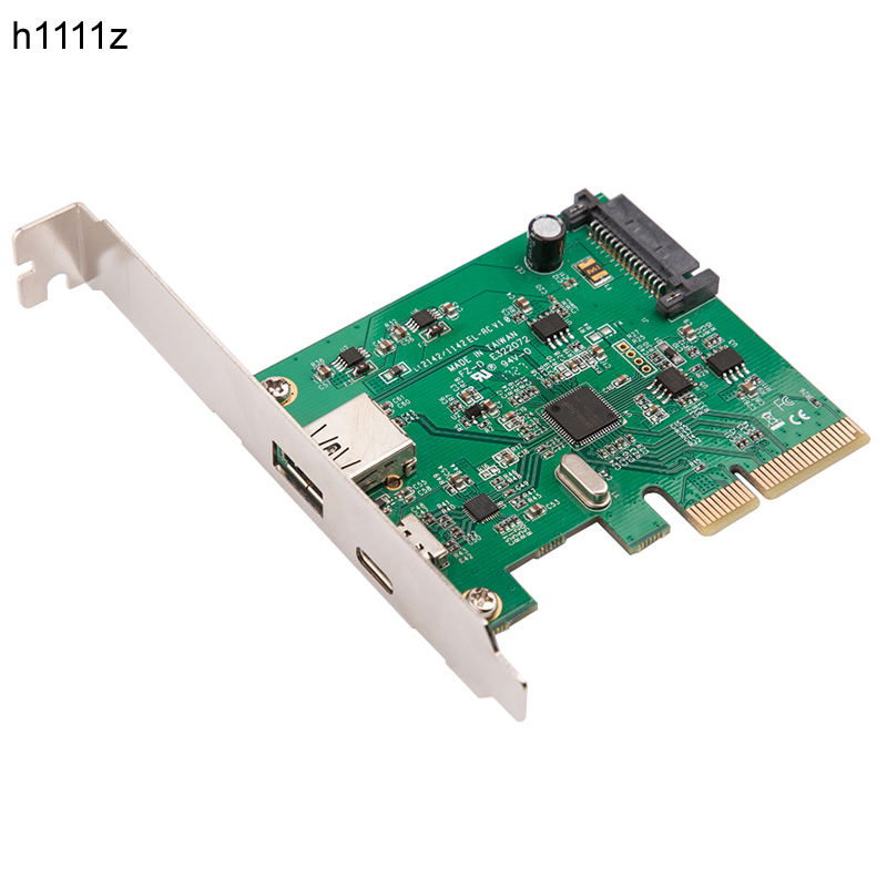 H1111Z PCI Express To USB3.1 USB-C + USB3.1 Type-A Host Controller Card Up To USB3.1 Gen-II 10Gbps Supper Speed+ ASM3142 Chipset