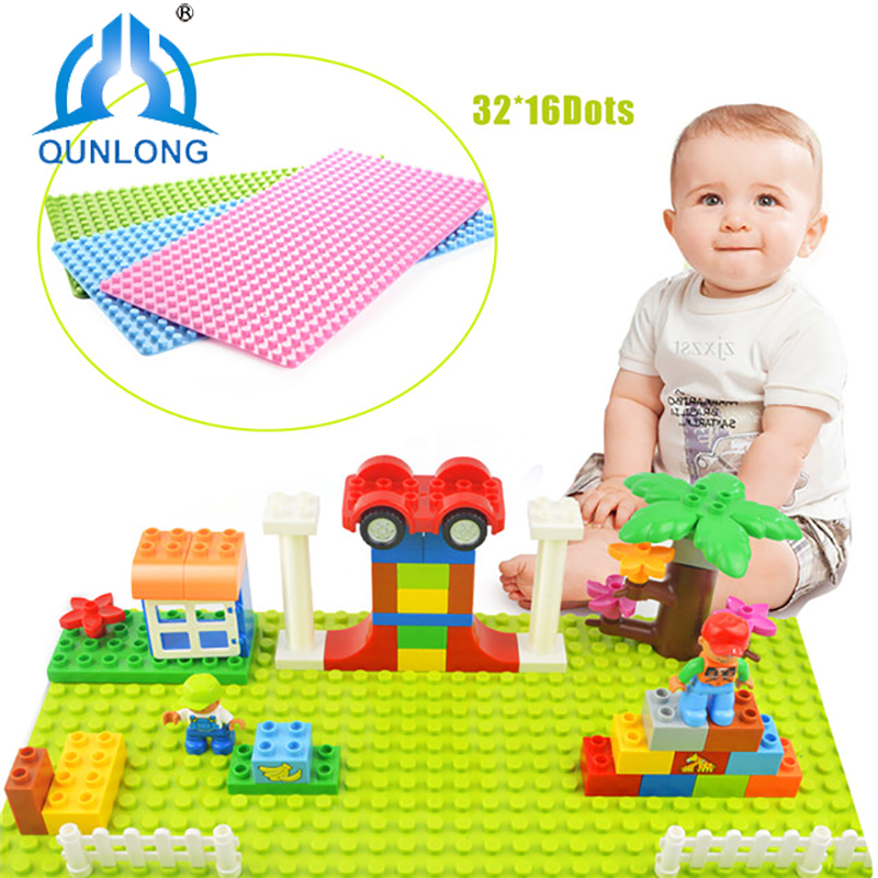 Qunlong 32*16 Dots Large Size Baseplate Big Base Plate Exlarge Brick Solid Plate Toys Compatible Legos Duploe Toys For Child Kid new big size 40 40cm blocks diy baseplate 50 50 dots diy small bricks building blocks base plate green grey blue