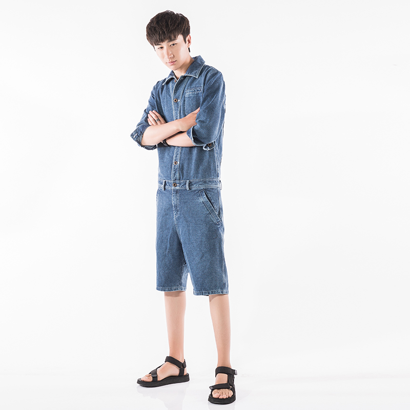 Super Handsome Men's Cropped Sleeves Jumpsuits Summer Casual Comfortable Overalls Men's Short   Jeans   Size M-2XL