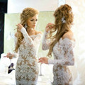 Sexy Off The Shoulder White Lace and Nude Cocktail Dresses 2016 Vestidos Backless Long Sleeve Party Dress Short Prom Dresses