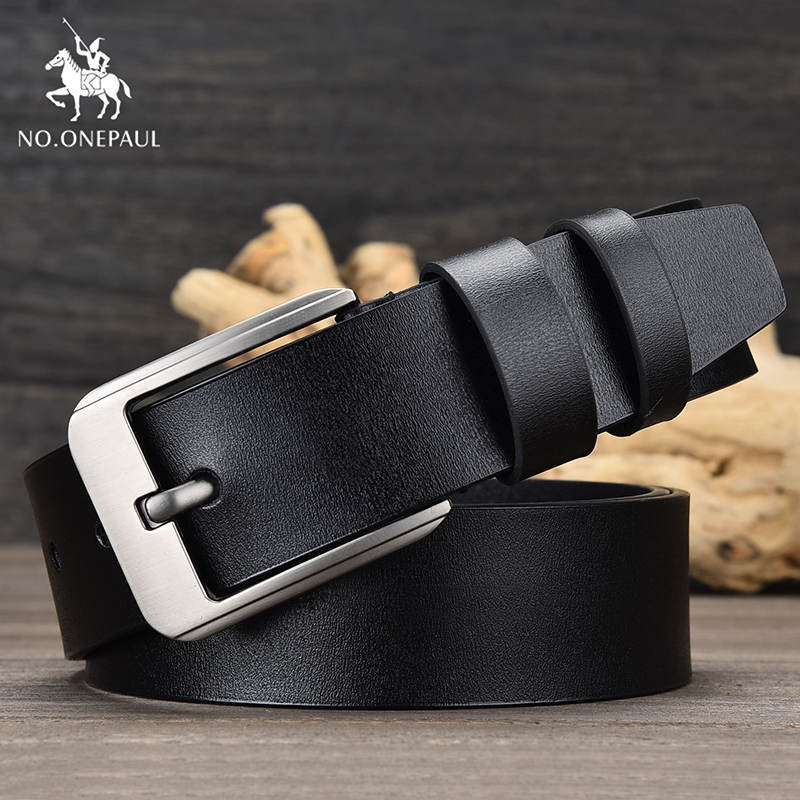 NO.ONEPAUL Genuine Brand Leather Fashion Retro Business Men's Cowhide Belt Alloy Pin Buckle New Men's Student Belt Free Shipping