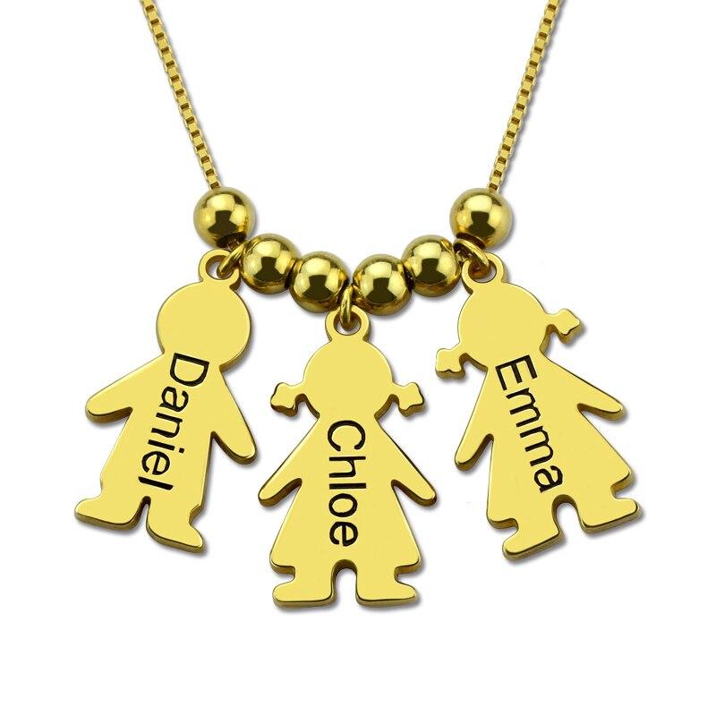 Femmes nom personnalisé collier argent or gravé Kid charmes colliers Costume fille garçon tour de cou à breloque cadeau pour maman étranger choses
