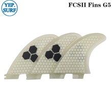 Surfboard FCS2 G5 fins White color Honeycomb Fibreglass fin Tri set