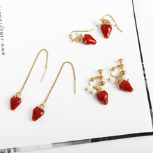 New Cute Stylish Delicate Strawberry Fruit Exquisite Dangle Earring Long Ear Thread Pierced Ears Earrings Jewelry Gift WD214