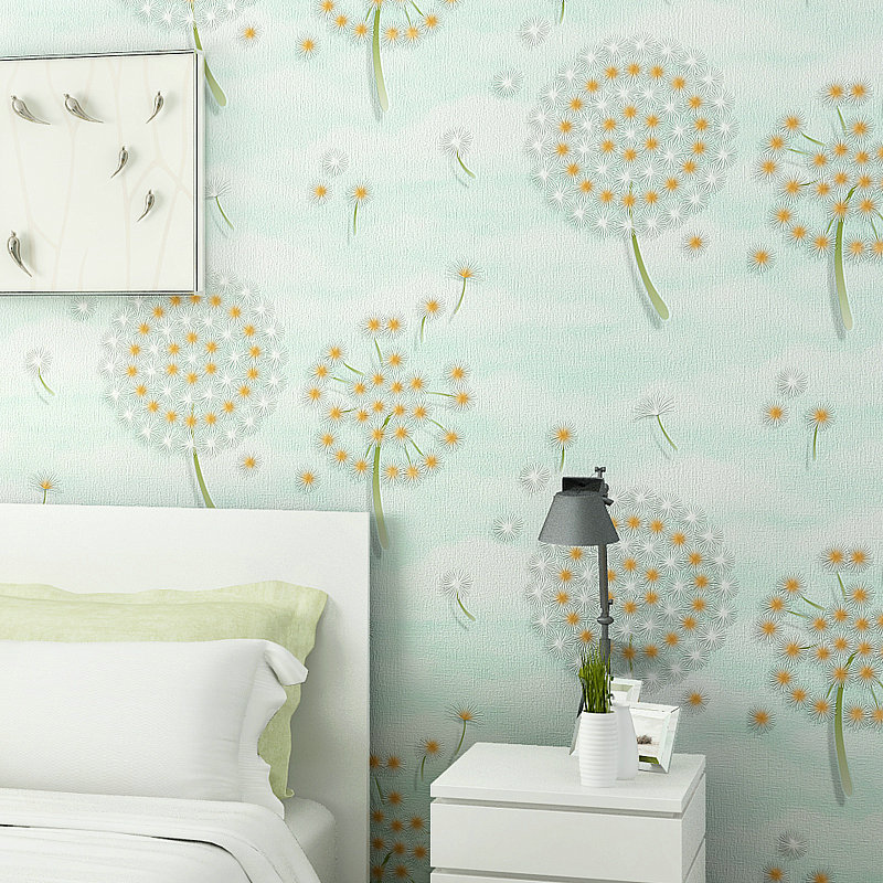 Unique Bedroom Wallpaper Warm Green Bedroom Colors Boys Bedroom Furniture Feng Shui Bedroom Bed Position: Modern Warm Floral Wallpapers Dandelion Wallpaper For