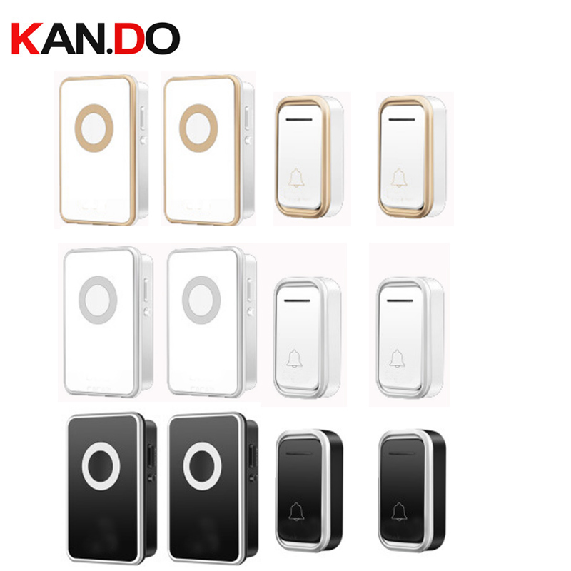 2 Receivers Option Wireless Door Bell Set By 110-220V Doorbell Waterproof Long Range 300M Door Chime Door Ring Villa Use