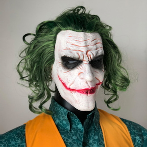 Image 2 - Joker Mask Movie Batman The Dark Knight Horror Clown Cosplay Latex Masks With Green Hair Wig Scary Halloween Party Costume Props