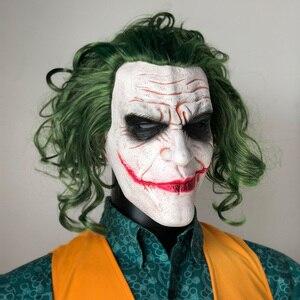 Image 2 - Máscara de Joker película Batman El Caballero Oscuro payaso de terror Cosplay máscaras de látex con Peluca de pelo verde Utilería de miedo disfraz de fiesta de Halloween