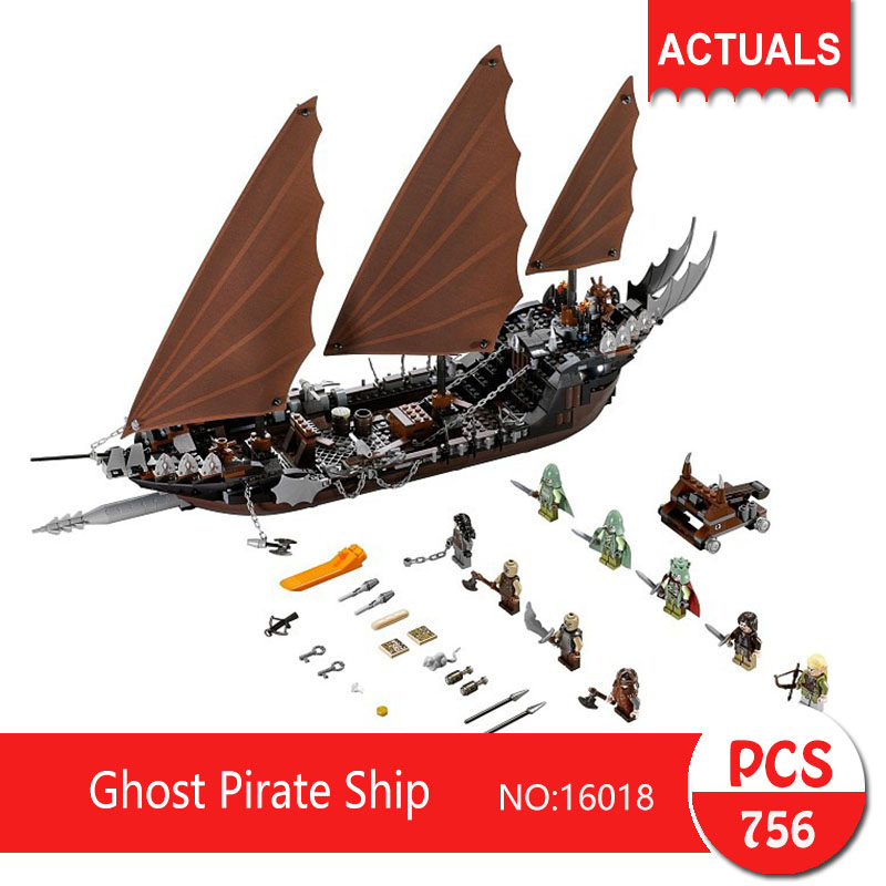 Lepin 16018 756Pcs Movie Series Ghost Pirate Ship Model Building Blocks Set  Bricks Toys For Children Pirate Caribbean Gift bevle store lepin 22001 4695pcs with original box movie series pirate ship building blocks bricks for children toys 10210 gift