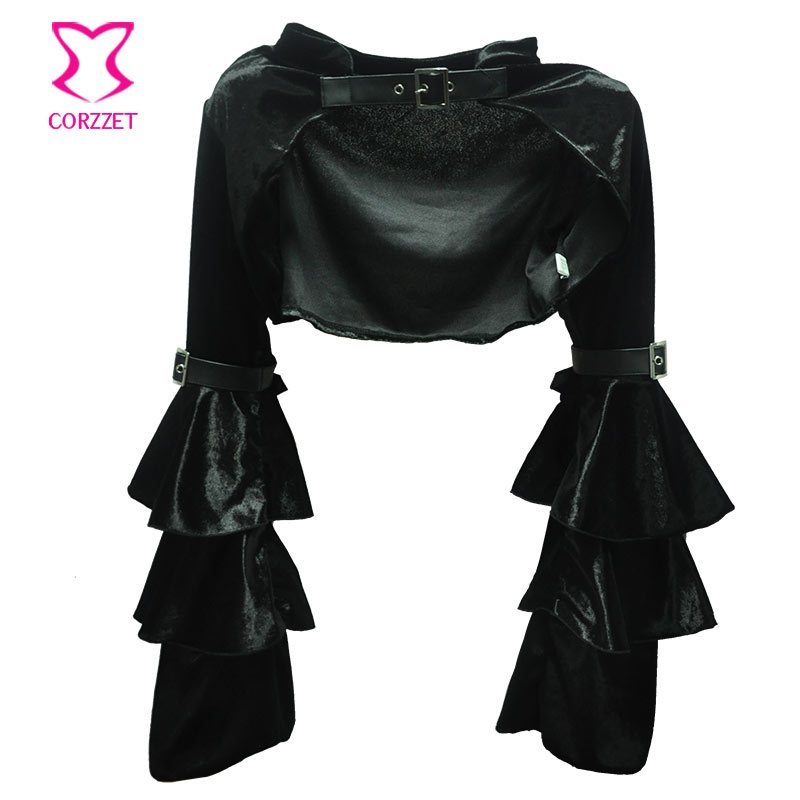 Mëngë të gjata me fanellë të zezë fanellë me xhaketë rrip - Veshje për femra - Foto 1