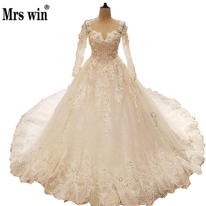 Wedding Dress 2017 The High end O neck Long Sleeve Luxury Embroidery Classic Sweep Train Ball Gown Sexy Illusion Bridal Gown F