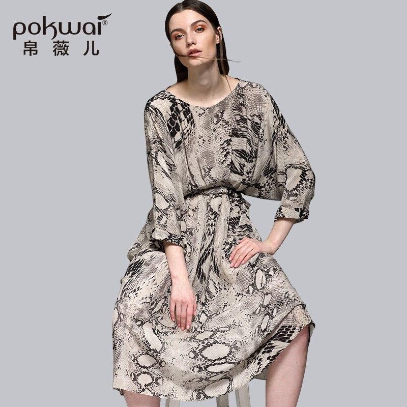 POKWAI Vintage été fête robe en soie femmes mode haute qualité nouveauté manches chauve-souris imprimé léopard robes a-ligne