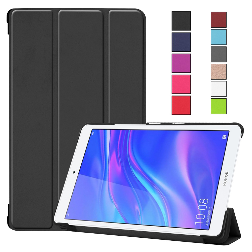 Tri-Fold Stand Case For Huawei MediaPad M5 Lite 8.0 T5 8'' JDN2-W09HN AL00HN Soft PC + PU Leather Cover Funda for Samsung T5 8.0(China)
