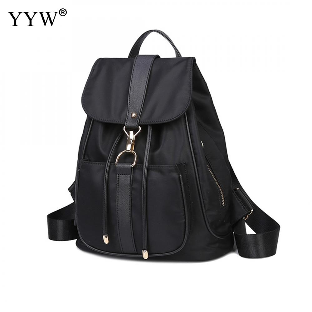 Fashion Black Oxford Backpack Female Dark Blue Backpacks for Adolescent Girls Women Purple Cover String Casual Small School Bag zency genuine leather backpacks female girls women backpack top layer cowhide school bag gray black pink purple black color