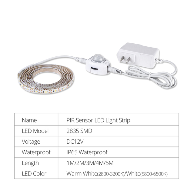 1M-5M LED Under Cabinet Lights PIR Motion Sensor 2835 DC 12V LED Strip Under Bed Lamp For Bedroom Stairs Kitchen Wardrobe