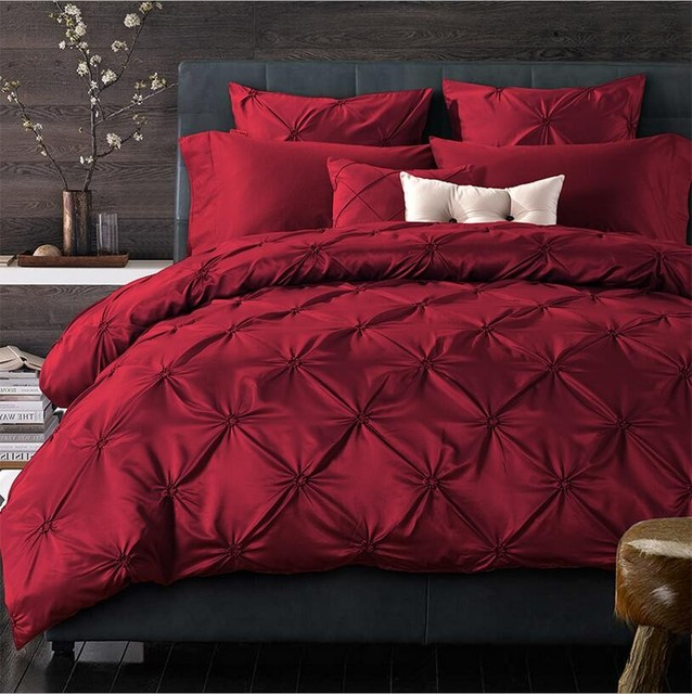 Attirant 4/6pcs Handmade Pinch Pleat Red Imitated Silk Bedding Sets King Queen Solid  Color Duvet