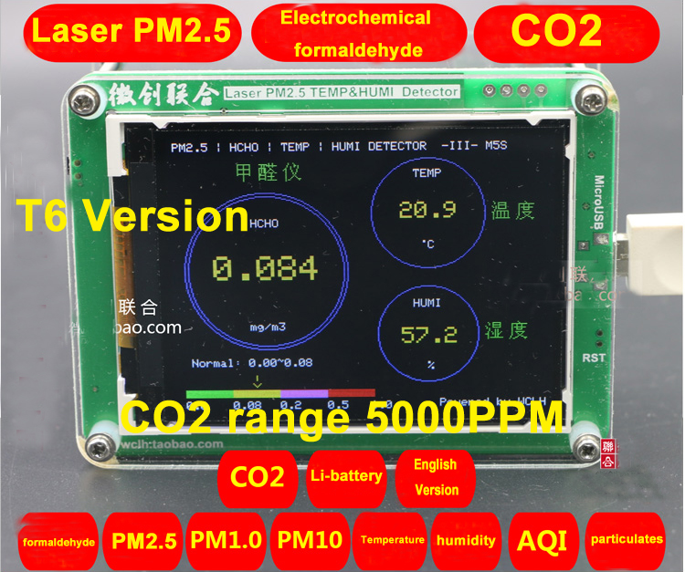 T6 M5S CO2 Sensor Formaldehyde PM2.5 PM1.0 PM10 detector PM2.5 dust haze Laser sensor with Temperature and humidity TFT LCDT6 M5S CO2 Sensor Formaldehyde PM2.5 PM1.0 PM10 detector PM2.5 dust haze Laser sensor with Temperature and humidity TFT LCD