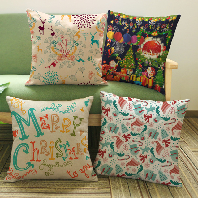 Creative Christmas carnival cotton linen theme Decoration Home Sofa Hotel office chair cushion car Waist Pillow Customization