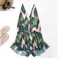 AZULINA Backless Deep V Neck Sexy Halter Romper Jumpsuit Women Drawstring Leaf Print Summer Playsuit Ladies