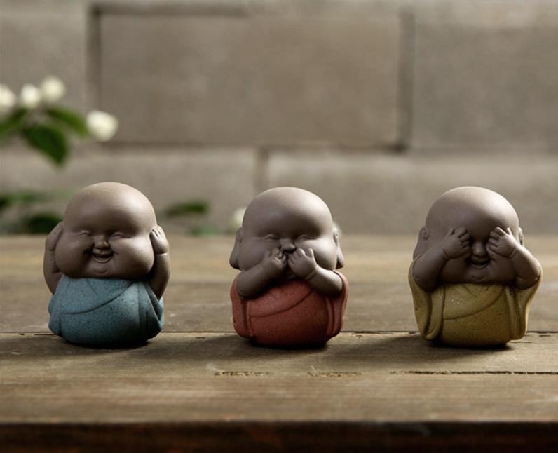 3PC Small Fat Monk Statue Ceramic Ornaments Buddha Statue Little Monk Tea Pet Home Teahouse Desktop Decor Porcelain Craft